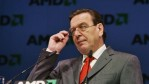 Chancellor Gerhard Schroeder delivers his speech at the opening ceremony of the new facility Fab 36 of AMD, Advanced Micro Devices, October 14, 2005 in Dresden, Germany.