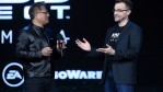 Nvidia Founder, President and CEO Jen-Hsun Huang (L) speaks with BioWare general manager Aaryn Flynn as they introduce footage of the new 'Mass Effect: Andromeda' video game