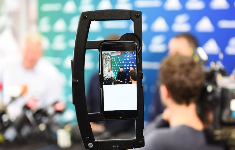 An iPhone live-streaming Beauden Barrett's re-signing with the All Blacks and Hurricanes teams at New Zealand Rugby on August 29, 2016 in Wellington, New Zealand.