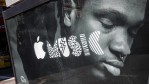 An advertisement for Apple Music is posted on the streets of Manhattan on August 7, 2015 in New York City.