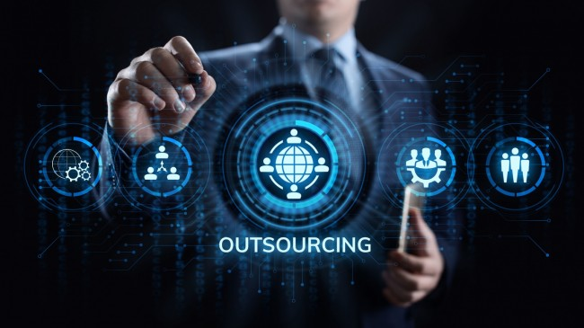 Outsourcing Global Recruitment Business and internet concept